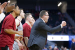 Stanford head coach Jerod Haase, right, cheers on his team during the first half of an NCAA college basketball game against San Diego on Saturday, Dec. 21, 2019, in San Francisco. (AP Photo/D. Ross Cameron)