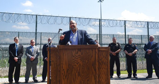 FILE—This file photo from May 8, 2018, shows Pennsylvania Corrections Secretary John Wetzel as he speaks outside the State Correctional Institution at Albion, Pa. A new dashboard of real-time data on Pennsylvania's prison and parole populations that uses data to reduce incarceration with a focus on racial inequities to specifically look at racial disparities in the system, was made public Friday, July 30, 2021. Wetzel a supporter of data and research-driven decisions since he took over in 2011, said about 70 % of the more than 13,000 prisoners released under various programs since he took over have been people of color.  (Jack Hanrahan /Erie Times-News via AP, File)