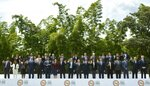 Representatives of the member countries of the Organization of American States wave during the official photo at the OAS 49th Special General Assembly in Medellin, Colombia, Thursday, June 27, 2019. The Organization of American States holds the second day of its three-day General Assembly meeting in Medellin, Colombia, where the crisis in Venezuela is the focus.(AP Photo/Luis Benavides)