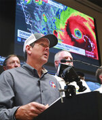Georgia Gov. Brian Kemp holds a Hurricane Dorian briefing at the Glynn County Public Safety Complex after ordering 6 counties to evacuate on Monday, Sept. 2, 2019, in Brunswick, Ga. (Curtis Compton/Atlanta Journal-Constitution via AP)