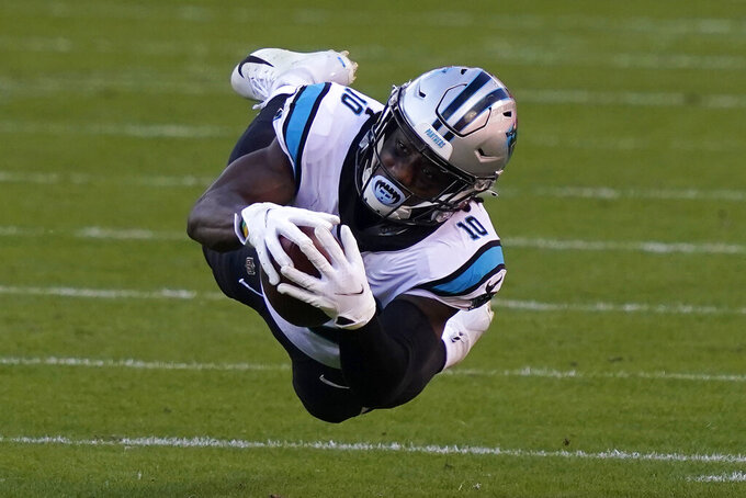 Carolina Panthers wide receiver Curtis Samuel catches a pass against the Kansas City Chiefs during the second half of an NFL football game in Kansas City, Mo., Sunday, Nov. 8, 2020. (AP Photo/Jeff Roberson)
