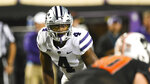 Kansas State linebacker Wayne Jones (4) watches the Oklahoma State quarterback during the first half of an NCAA college football game Saturday, Sept. 25, 2021, in Stillwater, Okla. (AP Photo/Brody Schmidt)