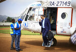 Director-General of the World Health Organization (WHO), Tedros Adhanom Ghebreyesus arrives by helicopter at Ruhenda airport in Butembo, to visit operations aimed at preventing the spread of Ebola and treating its victims, in eastern Congo Saturday, June 15, 2019. The World Health Organization on Friday said the Ebola outbreak is an