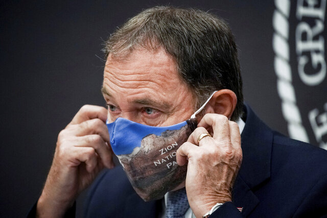 Utah Gov. Gary Herbert speaks during a briefing about the state's response to the COVID-19 pandemic at the Utah State Capitol, Thursday, Aug. 6, 2020, in Salt Lake City. (Spenser Heaps/The Deseret News via AP, Pool)