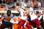 Iowa State quarterback Brock Purdy (15) throws a pass during an NCAA college football game against Oklahoma State Saturday, Oct. 24, 2020, in Stillwater, Okla. (AP Photo/Brody Schmidt)