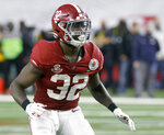 "Alabama linebacker Dylan Moses (32) plays against Notre Dame during the Rose Bowl NCAA college football game in Arlington, Texas, Friday, Jan. 1, 2021. In a recent Instagram post, Moses detailed his struggles with physical problems ""fighting through pain every single game"" and disclosed his grandmother's death. ""It's been times I wanted to quit and times I wanted to walk away from my dreams,"" he posted. (AP Photo/Ron Jenkins)"
