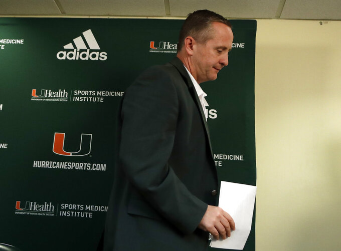 Miami athletic director Blake James leaves a news conference after head football coach Mark Richt announced his retirement, Sunday, Dec. 30, 2018, in Coral Gables, Fla. (AP Photo/Lynne Sladky)