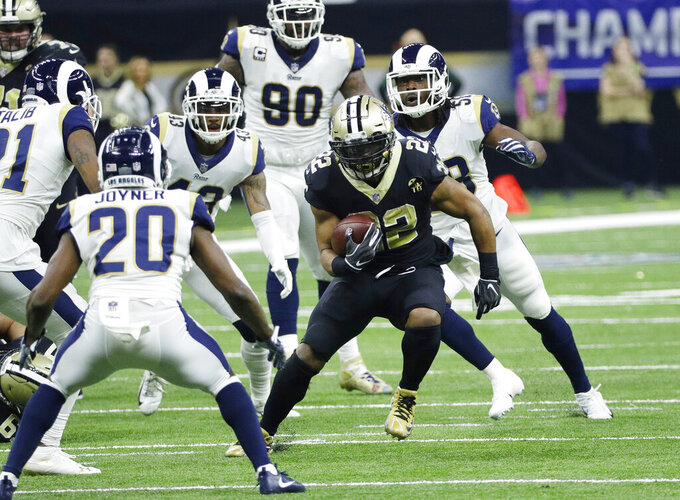 New Orleans Saints' Mark Ingram runs during the second half of the NFL football NFC championship game against the Los Angeles Rams, Sunday, Jan. 20, 2019, in New Orleans. (AP Photo/David J. Phillip)