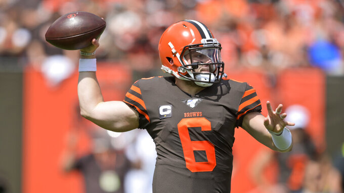 Cleveland Browns quarterback Baker Mayfield throws during the first half in an NFL football game against the Tennessee Titans, Sunday, Sept. 8, 2019, in Cleveland. (AP Photo/David Richard)