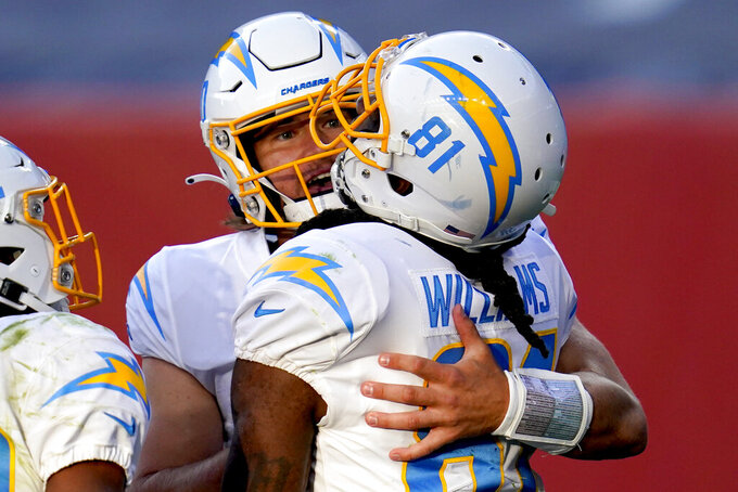 Los Angeles Chargers wide receiver Mike Williams (81) celebrates his touchdown catch with quarterback Justin Herbert during the second half of an NFL football game, Sunday, Nov. 1, 2020, in Denver. (AP Photo/David Zalubowski)