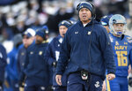 FILE - In this Dec. 28, 2017, file photo, Navy head coach Ken Niumatalolo watches from the sideline in the first half of the Military Bowl NCAA college football game in Annapolis, Md. Coming off a comeback win over Memphis, Navy faces Lehigh on Saturday, Sept. 15, 2018. (AP Photo/Gail Burton, File)
