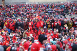 Kansas City Chiefs fans gather for a Super Bowl parade and rally in Kansas City, Mo., Wednesday, Feb. 5, 2020. (AP Photo/Orlin Wagner)