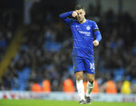 Chelsea's Eden Hazard reacts during the English Premier League soccer match between Manchester City and Chelsea at Etihad stadium in Manchester, England, Sunday, Feb. 10, 2019. (AP Photo/Rui Vieira)