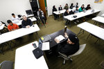 Imam Sayed Mohammad Baqer Al-Qazwini speaks during a class at the Al-Hujjah Islamic Seminary in Dearborn Heights, Mich., Oct. 9, 2019. Ideally, Qazwini says, students can grasp beginning and intermediate concepts in English but he recommends mastering Arabic for advanced learning. (AP Photo/Paul Sancya)