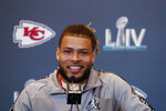 Kansas City Chiefs strong safety Tyrann Mathieu (32) speaks during a news conference on Thursday, Jan. 30, 2020, in Aventura, Fla., for the NFL Super Bowl 54 football game. (AP Photo/Brynn Anderson)