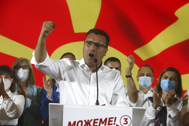 The leader of the ruling SDSM party Zoran Zaev speaks after his victory at the North Macedonia general election, in Skopje, early Tuesday, July 16, 2020. A suspected hacking attack caused the site of North Macedonia's electoral commission to crash for hours after polls closed in the country's national elections Wednesday, delaying preliminary results that showed the Social Democrats narrowly leading the center-right opposition.(AP Photo/Boris Grdanoski)