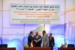 "File - In this March 23, 2015 file photo, released by the Egyptian Presidency, then Sudanese President Omar al-Bashir, center, Egyptian President Abdel-Fattah el-Sissi, left, and Ethiopian Prime Minister Hailemariam Desalegn, right, hold hands after signing an agreement on sharing water from the Nile River, in Khartoum, Sudan. Speaking at the U.N. summit in Sept. 2019, el-Sissi warned that his country would ""never"" allow Ethiopia to impose a ""de facto situation"" where it began filling the dam and limiting Egypt's share of the river's flow prior to an agreement. Ethiopia rejected outright Egypt's proposal for international mediation levelled at the U.N. (AP Photo/Ahmed Foad, Egyptian Presidency, File)"