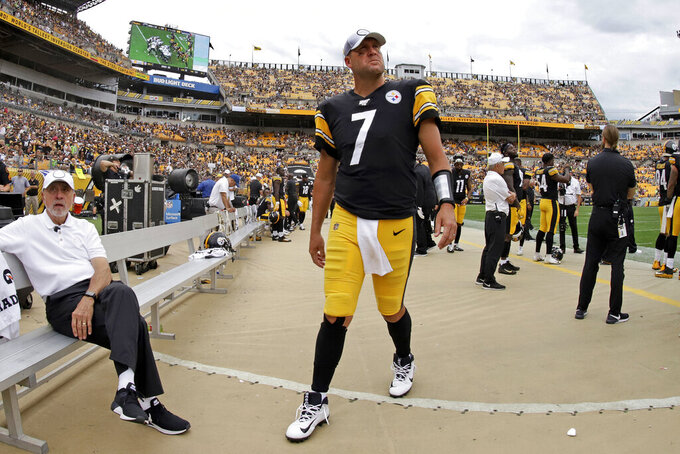 Pittsburgh Steelers quarterback Ben Roethlisberger (7) walks off the field as time runs out in a loss to the Seattle Seahawks in an NFL football game in Pittsburgh, Sunday, Sept. 15, 2019. Roethlisberger's season is over. The Pittsburgh Steelers quarterback will undergo surgery on his right elbow and be placed on injured reserve, ending the 37-year-old's 16th season just two weeks in. Roethlisberger injured the arm late in the second quarter of Sunday's 28-26 loss to Seattle. (AP Photo/Gene J. Puskar)
