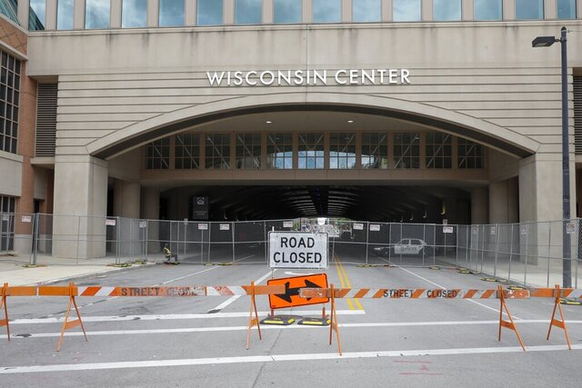 In this Aug. 5, 2020, file photo, The Wisconsin Center in Milwaukee. Joe Biden is poised to unveil his vision for the modern-day Democratic Party in the first presidential nominating convention of the coronavirus era next week. The all-virtual affair will test the former vice president's ability to overcome unprecedented logistical challenges in an urgent mission to energize his sprawling coalition. (AP Photo/Morry Gash, File)