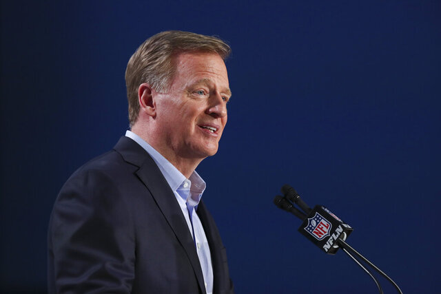 NFL Commissioner Roger Goodell speaks at a press conference ahead of Super Bowl LIV, Wednesday, Jan. 29, 2020 in Miami. (Ben Liebenberg via AP)