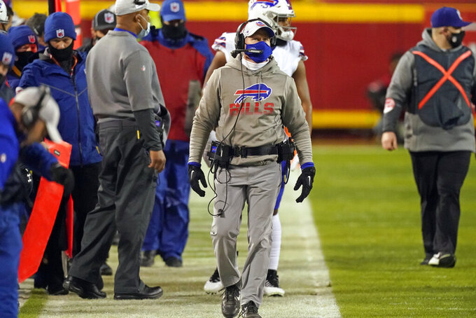 Buffalo Bills head coach Sean McDermott watches from the sideline during the first half of the AFC championship NFL football game against the Kansas City Chiefs, Sunday, Jan. 24, 2021, in Kansas City, Mo. (AP Photo/Charlie Riedel)