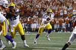 LSU quarterback Joe Burrow (9) runs against Texas during the first half of an NCAA college football game Saturday, Sept. 7, 2019, in Austin, Texas. (AP Photo/Eric Gay)