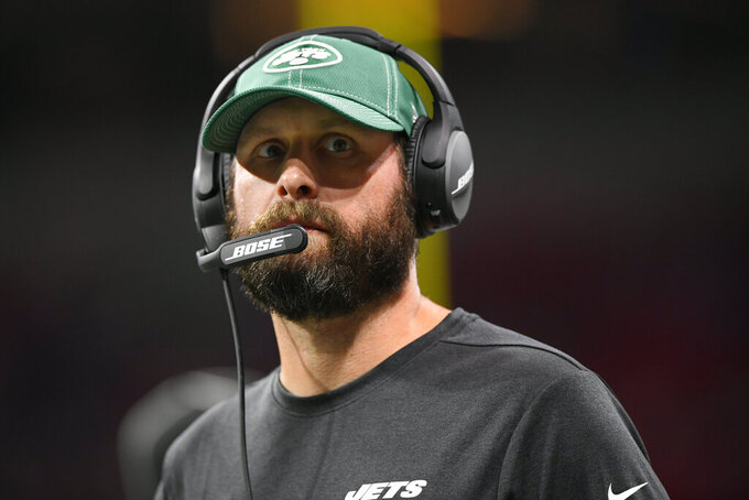 New York Jets head coach Adam Gase watches play against the Atlanta Falcons during the second half an NFL preseason football game, Thursday, Aug. 15, 2019, in Atlanta. (AP Photo/John Amis)