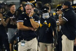 Southern Mississippi coach Jay Hopson reacts following a South Alabama touchdown during the first half of an NCAA college football game in Hattiesburg, Miss., Thursday, Sept. 3, 2020. (AP Photo/Rogelio V. Solis)
