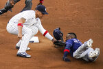 New York Yankees' Gleyber Torres, left, tags out Tampa Bay Rays' Randy Arozarena at second base during the first inning of a baseball game Wednesday, June 2, 2021, in New York. (AP Photo/Frank Franklin II)