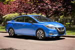 This undated photo provided by Nissan shows the 2020 Nissan Versas. For 2020, the redesigned Versa is ditching its