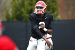 Georgia quarterback Dwan Mathis (2) at an NCAA football spring practice in Athens, Ga., Tuesday, March 26, 2019. (Joshua L. Jones/Athens Banner-Herald via AP)