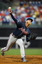 Atlanta Braves' Mike Foltynewicz pitches during the first inning of a baseball game against the Philadelphia Phillies, Monday, Sept. 9, 2019, in Philadelphia. (AP Photo/Matt Slocum)