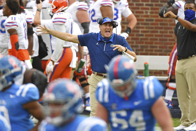 Florida head coach Dan Mullen reacts during the second half of an NCAA college football game against Mississippi in Oxford, Miss., Saturday, Sept. 26, 2020. No. 5 Florida won 51-35. (AP Photo/Thomas Graning)