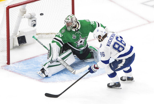 Tampa Bay Lightning right wing Nikita Kucherov (86) scores on Dallas Stars goaltender Anton Khudobin (35) during the first period of Game 3 of the NHL hockey Stanley Cup Final, Wednesday, Sept. 23, 2020, in Edmonton, Alberta. (Jason Franson/The Canadian Press via AP)