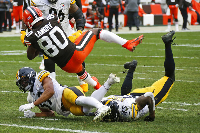 Cleveland Browns wide receiver Jarvis Landry (80) scores a touchdown during the second half of an NFL football game against the Pittsburgh Steelers, Sunday, Jan. 3, 2021, in Cleveland. (AP Photo/Ron Schwane)