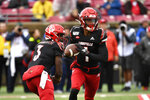 Louisville wide receiver Tutu Atwell (1) takes a handoff from quarterback Micale Cunningham (3) during the first half of an NCAA college football game in Louisville, Ky., Saturday, Oct. 26, 2019. (AP Photo/Timothy D. Easley)