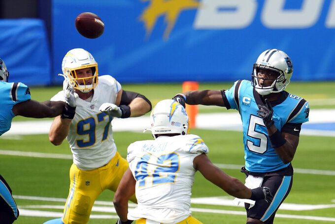 Carolina Panthers quarterback Teddy Bridgewater (5) throws against the Los Angeles Chargers during the first half of an NFL football game Sunday, Sept. 27, 2020, in Inglewood, Calif. (AP Photo/Alex Gallardo)