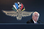 FILE - In this Monday, Nov. 4, 2019, file photo, Penske Corporation Chairman Roger Penske responds to a question during a press conference at Indianapolis Motor Speedway in Indianapolis. Penske, the winningest car owner in Indianapolis 500 history, in January completed the purchase of Indianapolis Motor Speedway and most of its assets, which includes the series considered one of the most competitive forms of racing in the world. Penske begins his run as owner of the league, the prestigious 500 and the landmark speedway armed with a three-car contingent that includes both defending IndyCar champion Josef Newgarden and defending Indy 500 winner Simon Pagenaud. (AP Photo/AJ Mast, File)