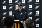Philadelphia Eagles head coach Doug Pederson speaks with members of the media during a news conference at the team's NFL football training facility in Philadelphia, Wednesday, Jan. 2, 2019. (AP Photo/Matt Rourke)