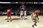 Temple's Nate Pierre-Louis (15) celebrates after Temple won an NCAA college basketball game against Houston, 73-69, Wednesday, Jan. 9, 2019, in Philadelphia. (AP Photo/Matt Slocum)