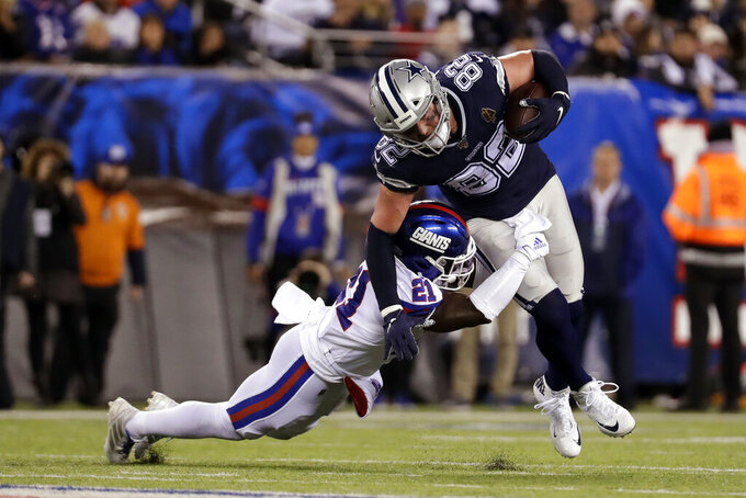 New York Giants free safety Jabrill Peppers (21) tackles Dallas Cowboys tight end Jason Witten (82) during the first quarter of an NFL football game, Monday, Nov. 4, 2019, in East Rutherford, N.J. (AP Photo/Adam Hunger)
