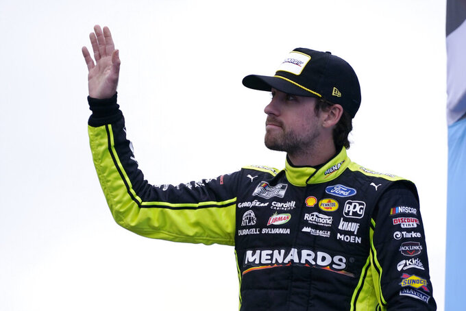 Ryan Blaney at a NASCAR Cup Series auto race, Sunday, July 18, 2021, in Loudon, N.H. (AP Photo/Charles Krupa)