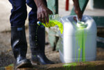 A security guard applies chemicals to a basin for use in decontaminating boots, as part of sanitary controls at the entrance of a quarantined banana plantation near Riohacha, Colombia, Friday, August 23, 2019. A destructive fungus affecting the plantation travels on small particles of soil that can stick to truck tires, farm equipment or workers' shoes. (AP Photo/Fernando Vergara)