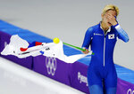 Silver medalist Kim Bo-reum of South Korea cries after the women's mass start finalspeedskating race at the Gangneung Oval at the 2018 Winter Olympics in Gangneung, South Korea, Saturday, Feb. 24, 2018. (AP Photo/Petr David Josek)