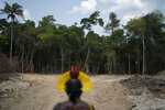 In this Aug. 31, 2019 photo, Krimej indigenous Chief Kadjyre Kayapo, of the Kayapo indigenous community, looks out at a path created by loggers on the border between the Biological Reserve Serra do Cachimbo, front, and Menkragnotire indigenous lands, in Altamira, Para state, Brazil. Much of the deforestation in the Brazilian Amazon is done illegally -- land grabbers burn areas to clear land for agriculture and loggers encroach on national forests and indigenous reserves, and Kayapo says he does not want loggers and prospectors on his land. (AP Photo/Leo Correa)