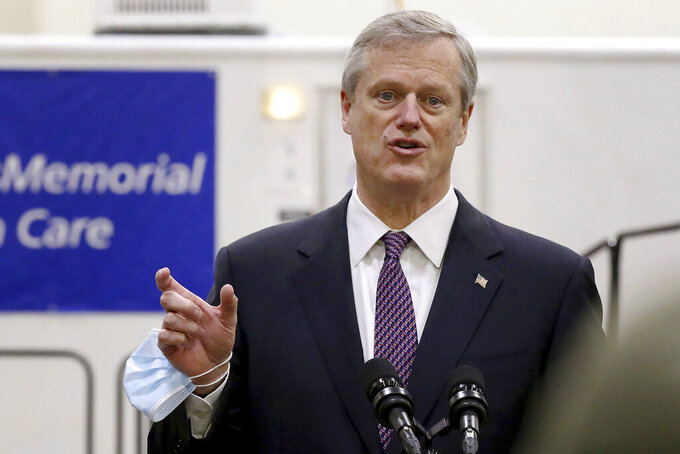 FILE - In this Dec. 3, 2020, file photo, Massachusetts Gov. Charlie Baker speaks after touring the DCU Center as it gears up to be used as a COVID-19 field hospital for the second time in Worcester, Mass. The Supreme Judicial Court ruled Thursday, Dec. 10, that Baker did not overstep his authority when he issued sweeping orders to close businesses to control the spread of the coronavirus. (Nancy Lane/The Boston Herald via AP, Pool, File)
