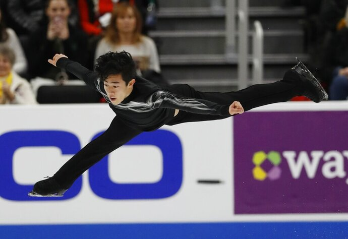 Nathan Chen performs in the men's free skate during the U.S. Figure Skating Championships, Sunday, Jan. 27, 2019, in Detroit. Chen won the event. (AP Photo/Carlos Osorio)