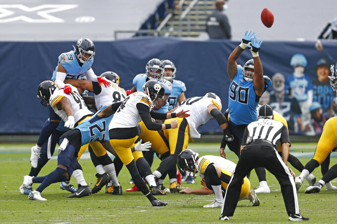 Pittsburgh Steelers kicker Chris Boswell (9) kicks a 38-yard field goal against the Tennessee Titans in the first half of an NFL football game Sunday, Oct. 25, 2020, in Nashville, Tenn. (AP Photo/Wade Payne)