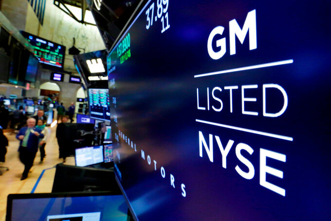 FILE- In this April 23, 2018, file photo, the logo for General Motors appears above a trading post on the floor of the New York Stock Exchange.  Even though General Motors was able to reopen its U.S. factories for the last half of the second quarter, the company still lost $806 million from April 2020 through June. The Detroit automaker had to close its plants from March 18 to May 18 due to the coronavirus, but production didn't resume fast enough to hold off a net loss. (AP Photo/Richard Drew, File)