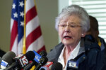 FILE - In this March 4, 2019, file photo, Alabama Gov. Kay Ivey speaks at a news conference in Beauregard, Ala. Ivey apologized after a 1967 college radio interview surfaced of her then-fiance Ben LaRavia describing her wearing